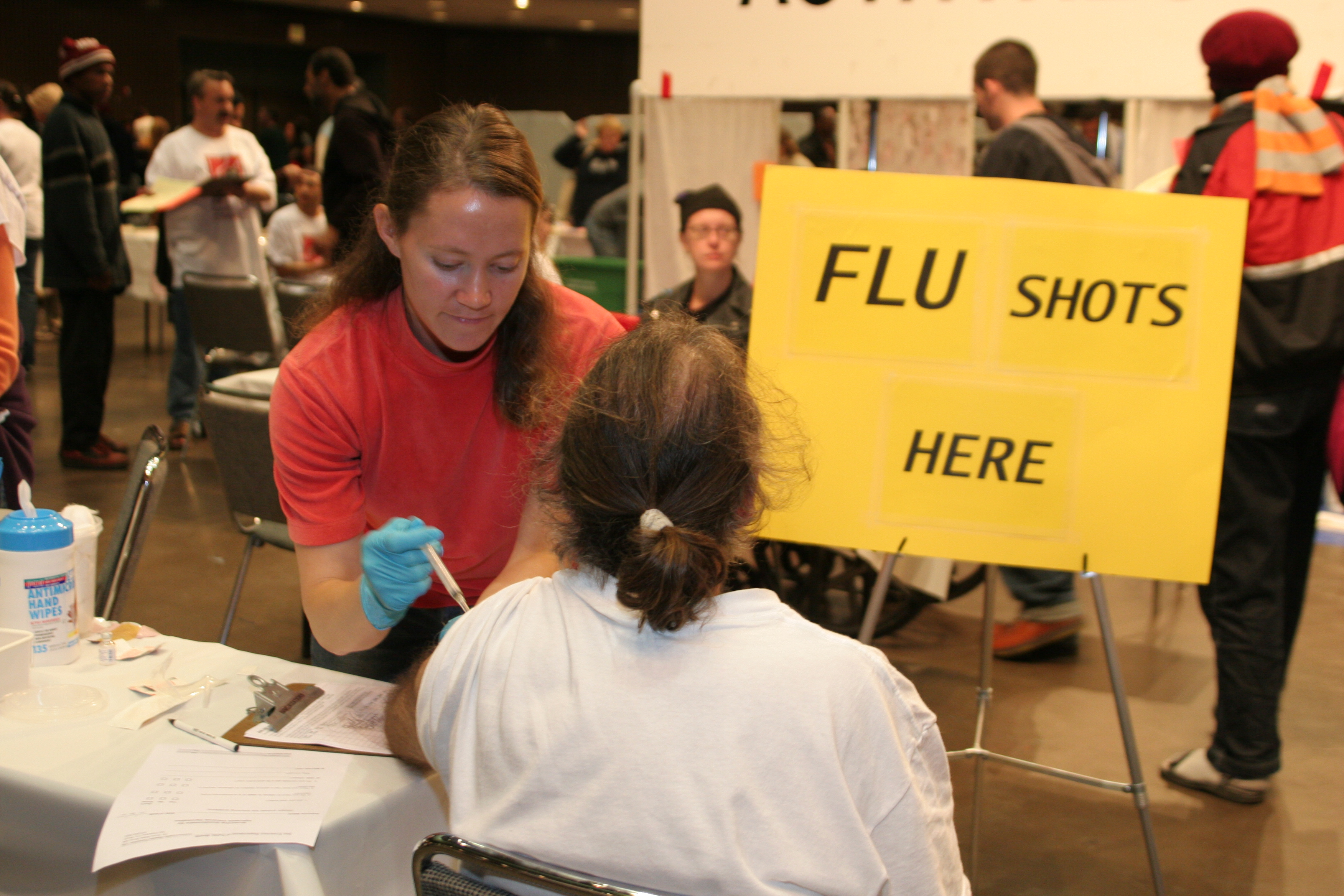 Event participant receiving a Flu shot
